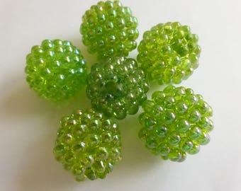 20mm Vintage Raspberry Beads Spring Green (6) NOS