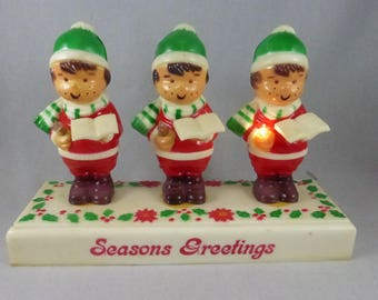 Vintage Trio of Battery Lighted Carolers