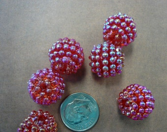 6 Vintage 15mm  Raspberry Beads Red NOS (6)