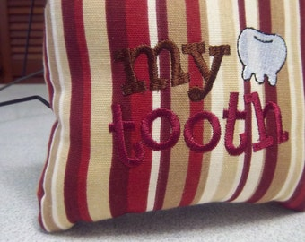 1016 1022  Red, Tan, Taupe and Ivory Striped Tooth Fairy Pillow