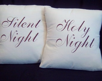Silent Night Holy Night  Embroidered Christmas Pillow Pair