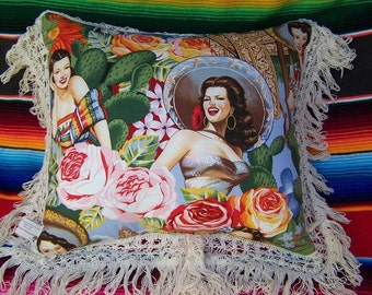 Mexican SOUTHWEST Senorita Decorator Pillow Sombrero Roses Cactus
