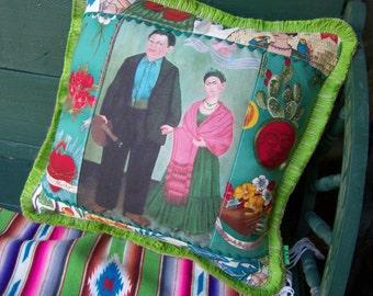 Vintage Frida Kahlo Image Pillow Frida and Diego holding hands