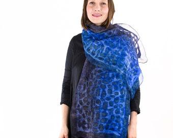 Sild scarf, Felted scarf, Felt scarf, Nuno felt scarf, Handpainted Silk Scarf, Burgundy orange pink scarf, Kate Ramsey, Gift for Grandmother