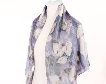 Felted scarf, Silk felt scarf, Silk wrap, leaf inspired scarf, fashion scarf, elegant scarf, wearable art, unique scarf, eco fashion