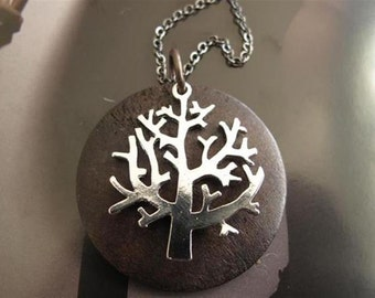 Silver Plate Winter Tree on Dark Stained Wood Disc