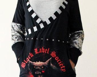 Black Label Society t-shirt reconstruction - Black silver gold long dress hoodie - Plus Sized - Kezbirdie