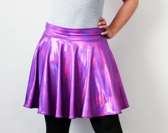 Purple Metallic Rainbow Holographic circle skirt rave and dance wear - all sizes available -  Kezbirdie