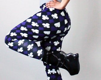 Purple, white and black playing card suits leggings - All sizes available - Kezbirdie