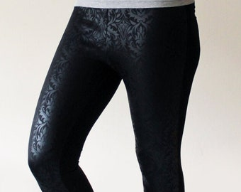 Black on Black Damask Drinted Gothic Leggings - Size Medium - Ready to Ship - Kezbirdie