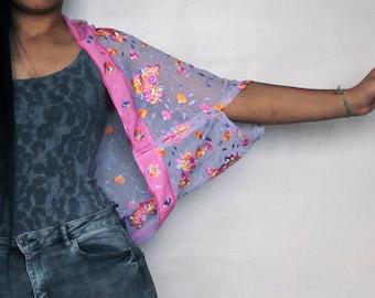 Pink purple and orange floral upcycled over sized summer bolero shrug short sleeves -  One size fits all -  Kezbirdie