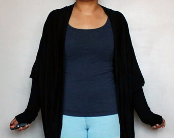Black long sleeve bolero shrug over sized -  one size fits all - lounge wear, casual wear - Kezbirdie