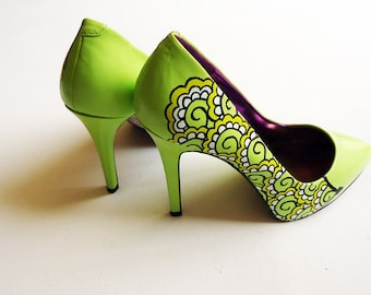 hand painted heels rose and thorns customize your shoes  etsy