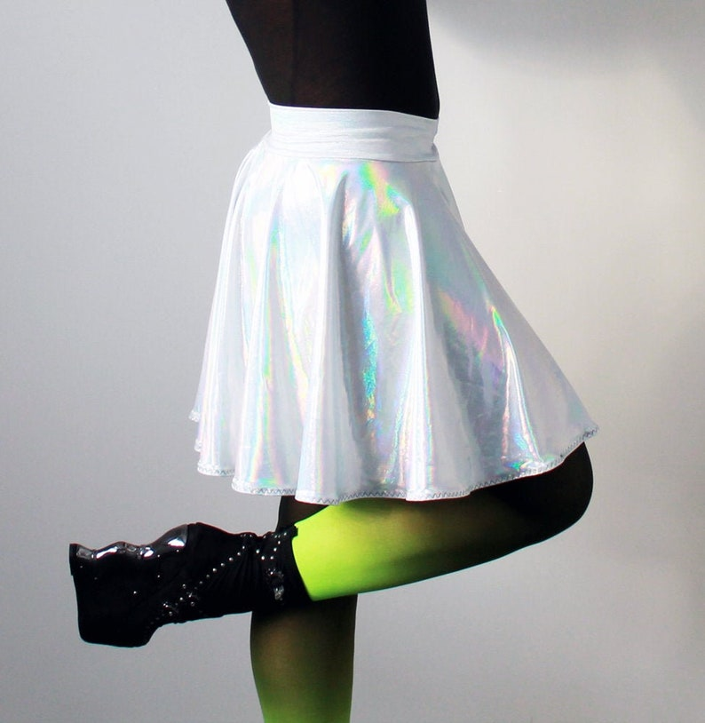 Silver holographic rainbow circle twirl skirt  Available in image 0
