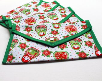 Christmas Pouch - Red, white and green Christmas Matryoshka Dolls - stocking filler phone or tablet storage, make up bag - Kezbirdie