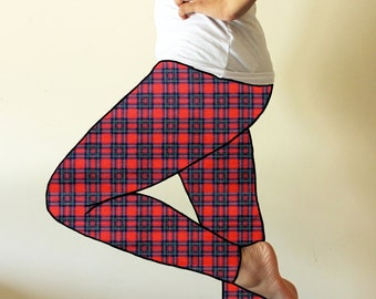 Made to order leggings  - Punky red plaid leggings  - available in sizes XS, S, M, L, XL and custom sizes - kezbirdie