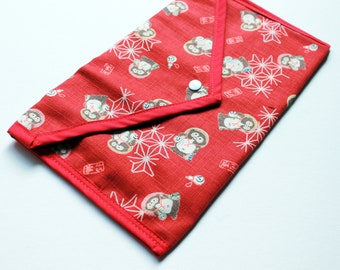 Japanese bear red pouch -  One of a kind - phone or tablet storage, make up bag - Kezbirdie