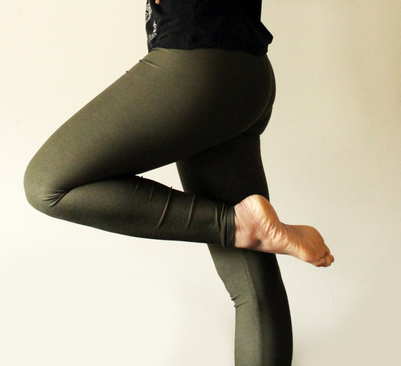Khaki green leggings  available in sizes XS S M L XL and image 0
