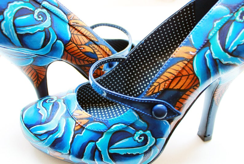 Hand Painted Shoes  Autumn Blue Roses   Navy Blue Court image 0