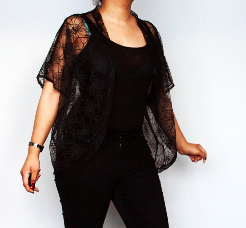 Black spider web lace over sized bolero shrug   one size fits image 0