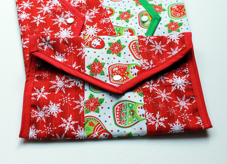 Christmas Pouch  snowflakes and Matryoshka dolls green red image 0