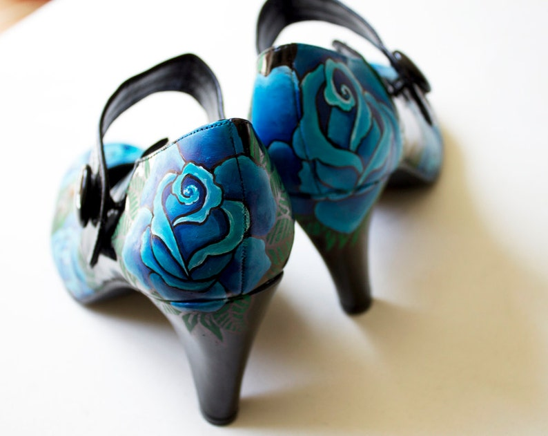 Hand painted heels  Blue Roses Customize Your Shoes  image 0