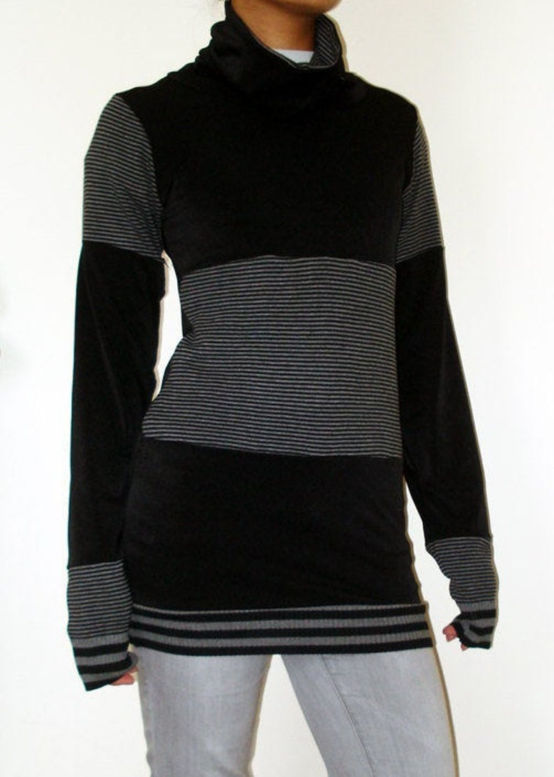 Black and Grey Handmade Cowl Neck long top /dress Recon  One image 0