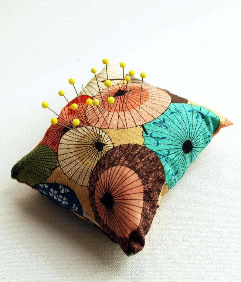 Eco Friendly Handmade Pincushion  Peach Parasols  Kezbirdie image 0