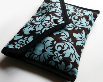 Handmade Brown and Turquoise Damask Pouch - Kezbirdie