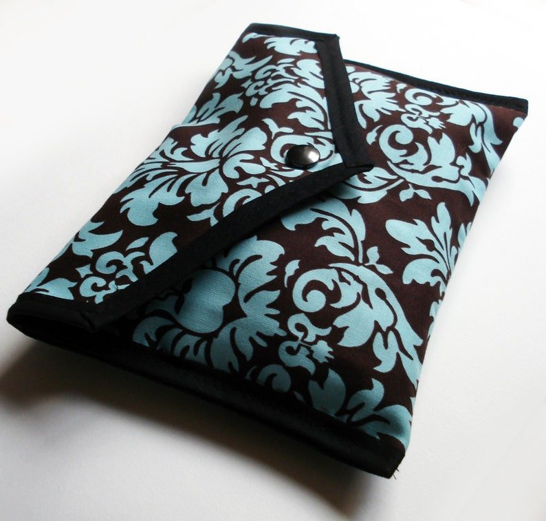 Handmade Brown and Turquoise Damask Pouch  phone or tablet image 0