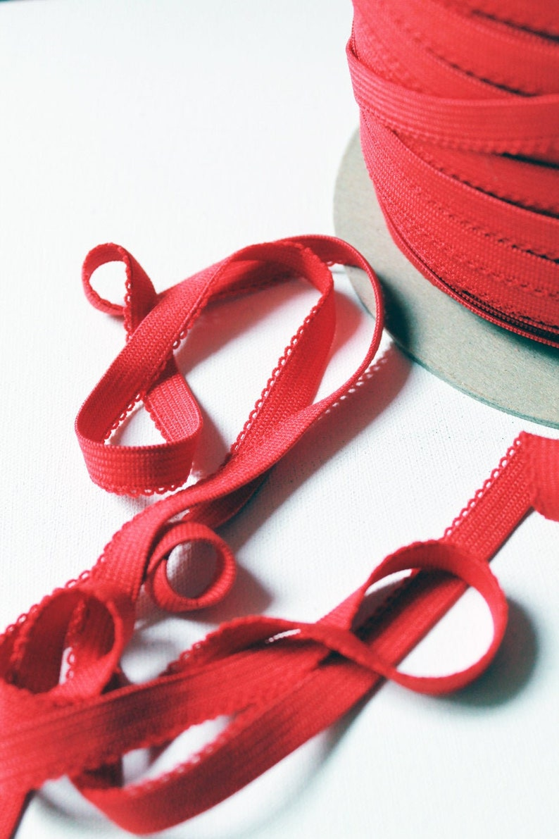 Red picot stretch trim  .5 inches / 1.7cms wide   1 metre  image 0
