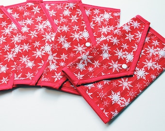 Christmas Pouch - Red and White Snowflakes - Stocking filler phone or tablet storage, make up bag - Kezbirdie