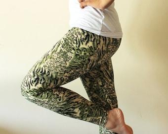 Funky green animal print leggings  pants  - Size Medium, ready to ship - Kezbirdie