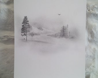 Original Pencil and Graphite drawing, mountain view, snow scene, pine trees.