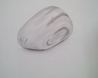 Original pencil drawing, single pebble, inspirational