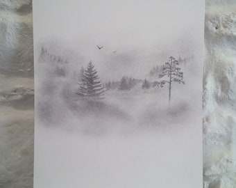 Original Pencil and Graphite drawing, snowy landscape, wilderness, pine trees