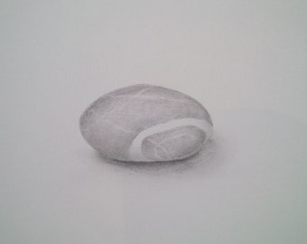 Original pencil drawing, single pebble, inspirational,