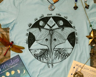 Luna moth nature triangle moons hand drawn printed junior fit ladies tee