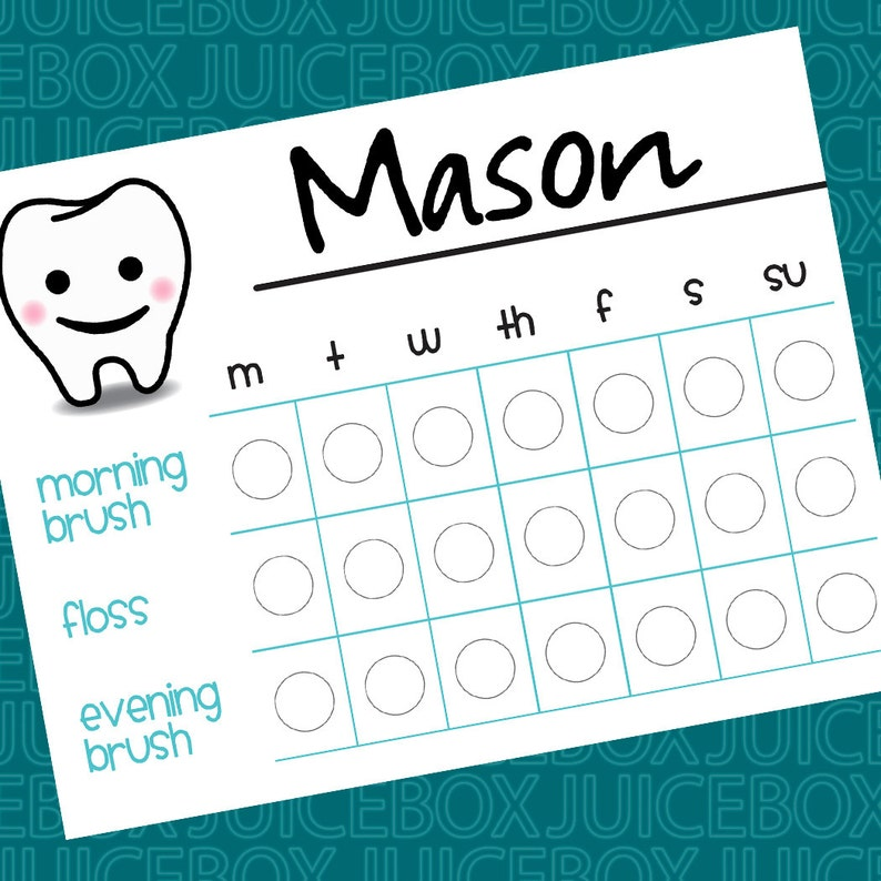 photograph relating to Printable Tooth Brushing Chart named Tooth Brushing Chart - Printable - Quick Down load