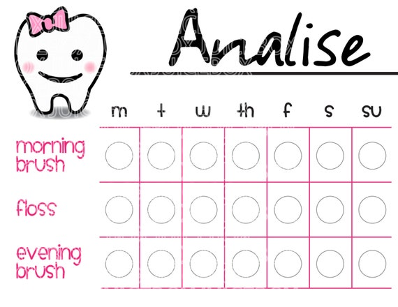 graphic regarding Printable Tooth Brushing Charts identified as Tooth Brushing Chart - Printable - Instantaneous Obtain