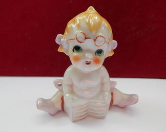 Adorable Baby Girl Figurine - Handpainted Ceramic - Japan - 1940's