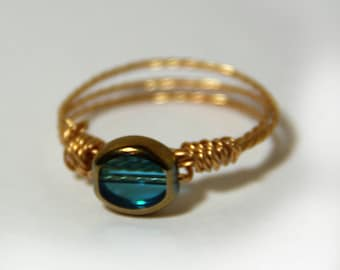 Wire wrapped copper ring with bead