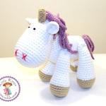 SALE - Medium Unicorn Crochet Plush Toy - White and Purple - Made To Order