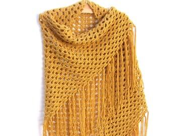 Gold Shawl - Triangle Wrap - Crochet Fringe Shawl - Boho Clothing - 70's Festival Shawl
