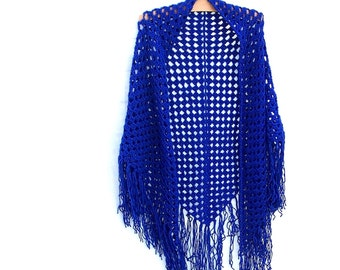 Crochet Triangle Fringe Shawl - 70's Style - Royal Blue
