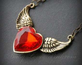 Ruby Heart Gold Wings Necklace