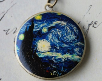 Starry Night Locket Necklace - Brass Photo Locket  (R3B-C1)