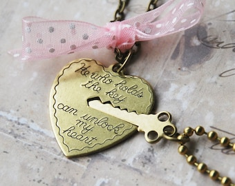 Key to My Heart Necklace - Heart and Key Couples Necklace  (R1E3)