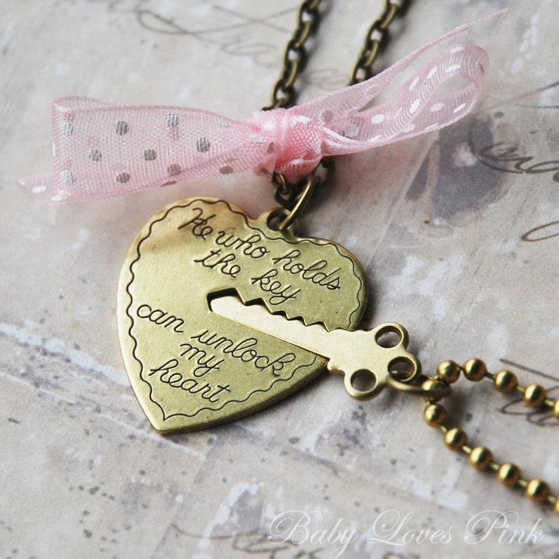903377425b Key to My Heart Heart and Key Couples Necklace R1E3 | Etsy