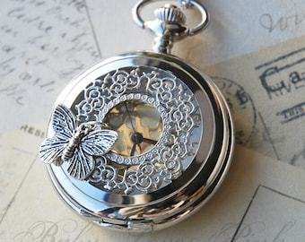 Butterfly Effect Silver Watch Necklace (R1C1)